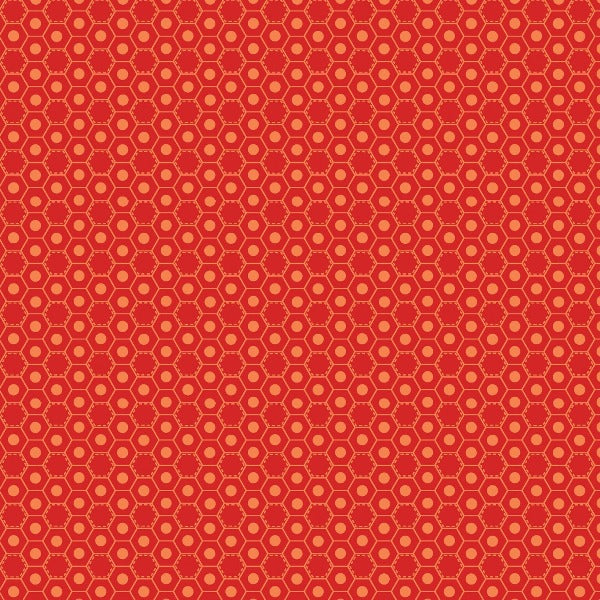 RED Basic Hugs Red Hexagon Fabric to sew