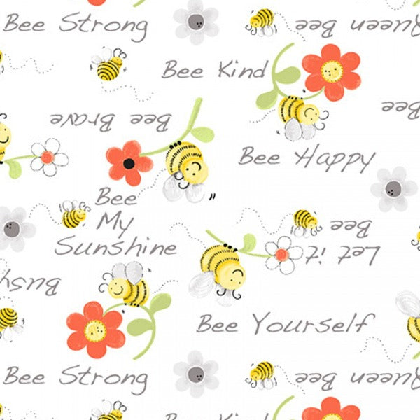 Susybee's Bee My Sunshine on White Fabric to sew