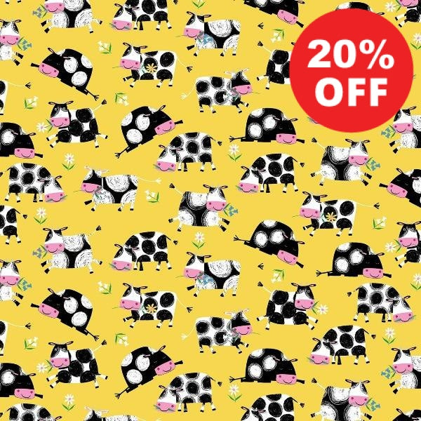 Best Friends Farm Cows on Yellow Fabric to sew