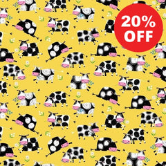 Best Friends Farm Cows on Yellow Fabric to sew - QuiltGirls®