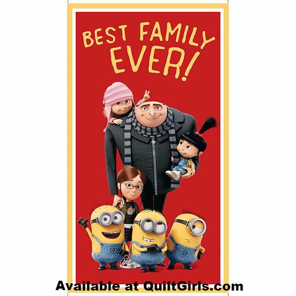 Despicable Me 3, Best Family Ever Fabric Panel to sew - QuiltGirls®