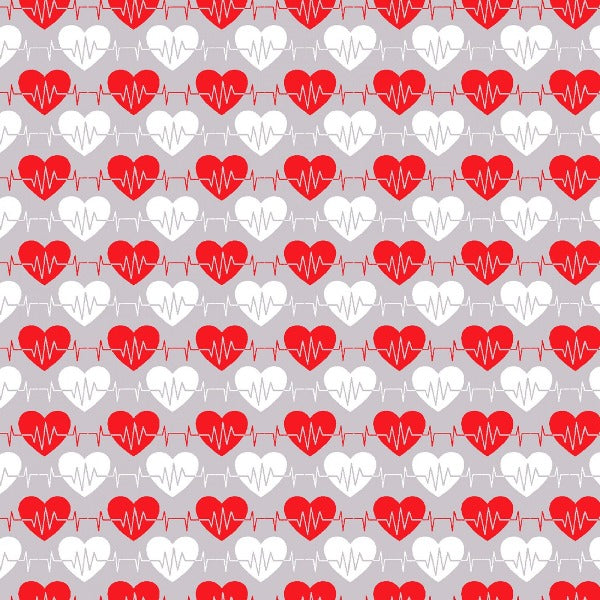"(Remnant 18"") Big Hugs Gray Heartbeat Fabric to sew"