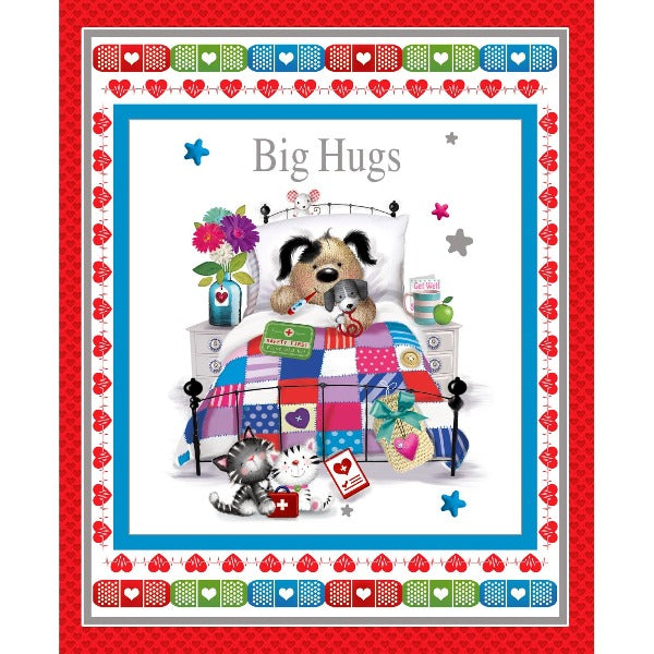 Big Hugs Get Well Panel to sew - QuiltGirls®