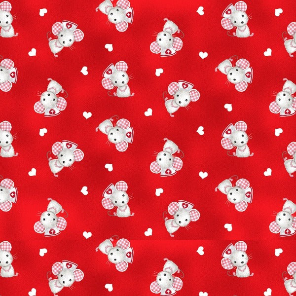 Big Hugs Red Nurse Mouse Fabric to sew - QuiltGirls®