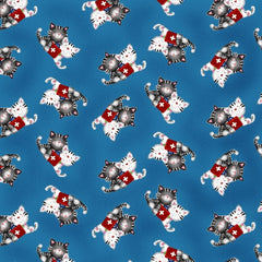 Big Hugs Blue Cats Allover Fabric to sew - QuiltGirls®