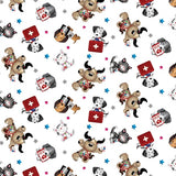 Big Hugs White Character Toss Fabric to sew - QuiltGirls®