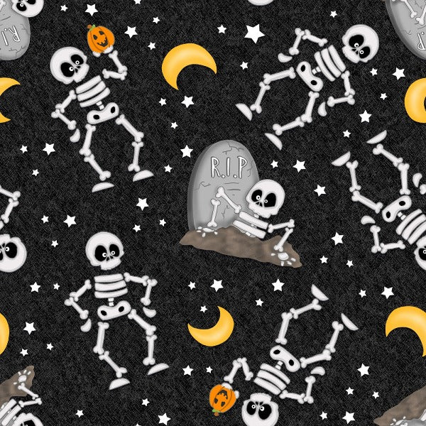 A Haunting We Will Glow Skeletons on Black Fabric to sew
