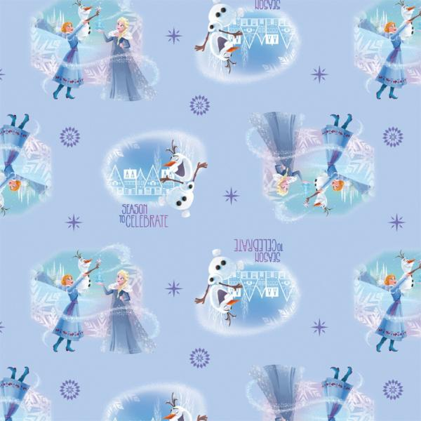 Frozen Season to Celebrate on Blue Fabric to Sew