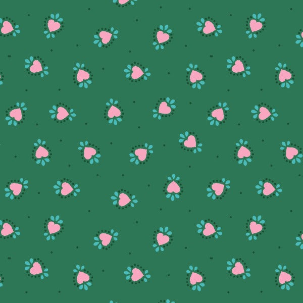 GRN Bo Ho Hearts on Green Fabric to sew - QuiltGirls®
