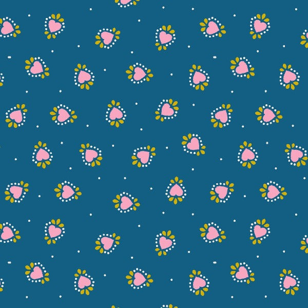 BLU Bo Ho Hearts on Blue Fabric to sew - QuiltGirls®
