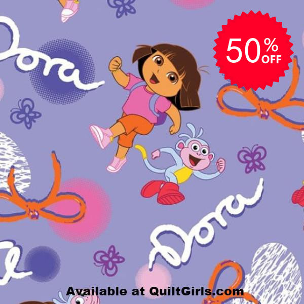 Boots and Dora on Purple Fabric to sew - QuiltGirls®
