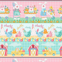 "(Remnant 18"") Down on the Bunny Farm Stripe Fabric to sew - QuiltGirls®"