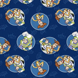 "(Remnant 18"") Buzz and Woody Badges Fabric to sew - QuiltGirls®"