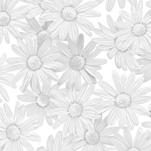 WHT White Out Daisies Fabric to sew - QuiltGirls®
