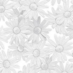 "(Remnant 18"") WHT White Out Daisies Fabric to sew"