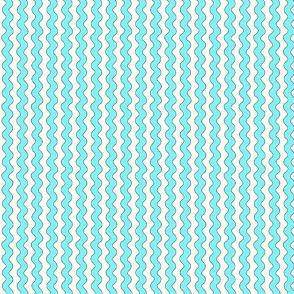 BLU Quilted Cottage Ric Rac Stripe Turquoise Fabric to sew