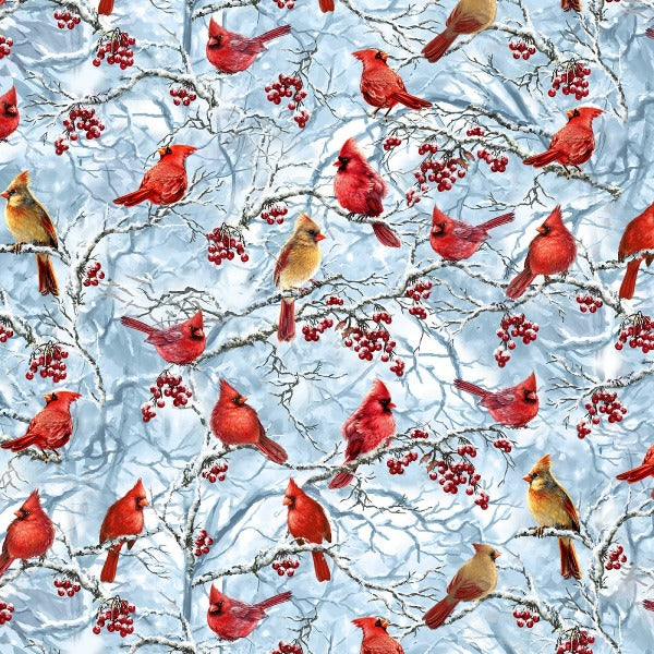 Cardinals on Blue Fabric to Sew