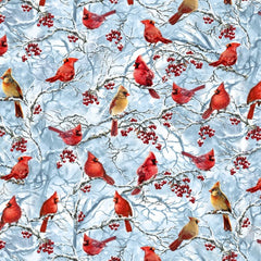 Cardinals on Blue Fabric to Sew - QuiltGirls®