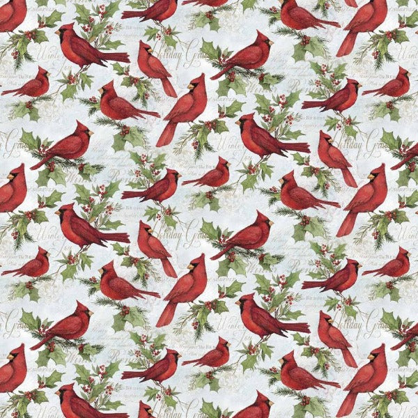 Christmas Cardinals on Script Fabric to Sew