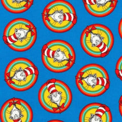 Cat in the Hat Badges Blue Fabric to sew - QuiltGirls®
