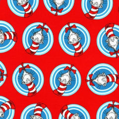 "(Remnant 18"") Cat in the Hat Badges Red Fabric to sew - QuiltGirls®"
