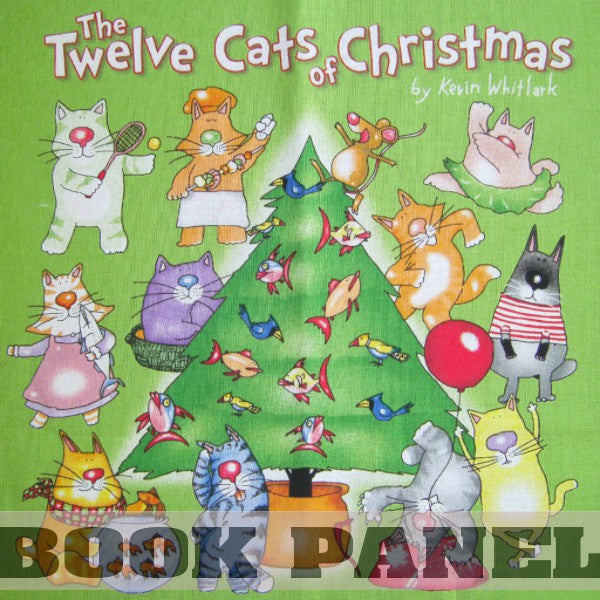 The 12 Cats of Christmas Fabric Book Panel to Sew