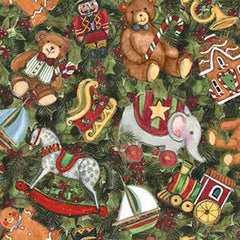 "(Remnant 18"") Christmas Toys and Holly Packed Fabric to Sew - QuiltGirls®"