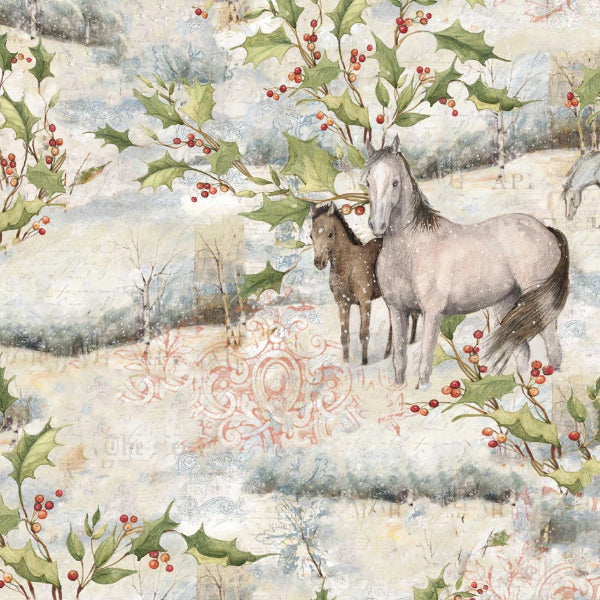 Christmas Mid Winter Scenic Horse Fabric to Sew