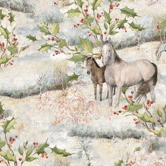 Christmas Mid Winter Scenic Horse Fabric to Sew - QuiltGirls®