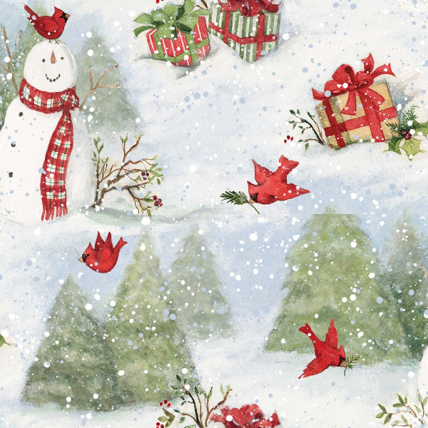 Snowy Cardinals Scenic Fabric to Sew