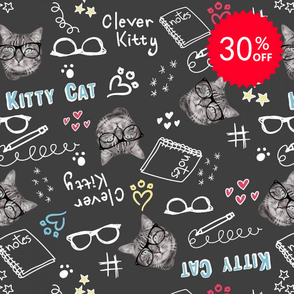 Clever Kitties Black Fabric to sew - QuiltGirls®