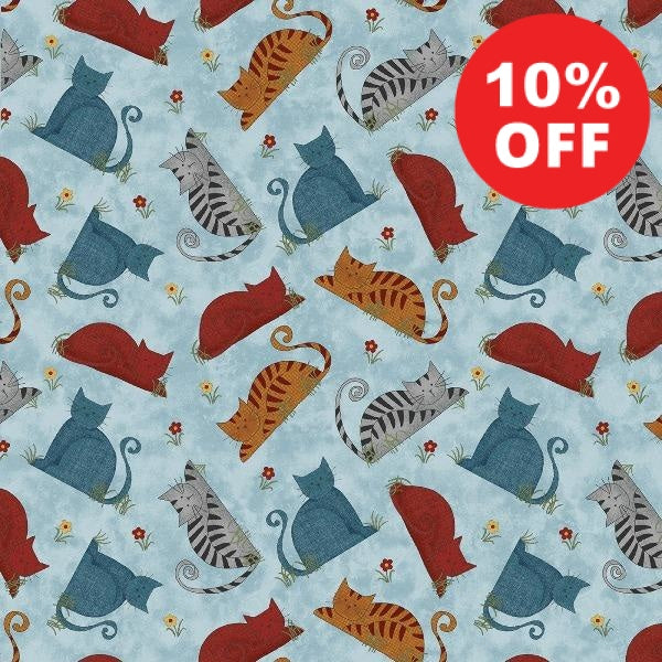 Prairie Grove Colorful Cats Sky Blue Fabric to sew