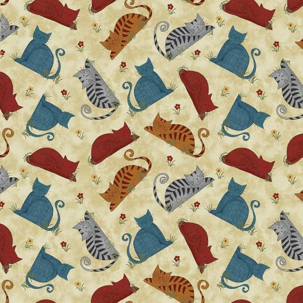 Prairie Grove Colorful Cats Vanilla Fabric to sew - QuiltGirls®