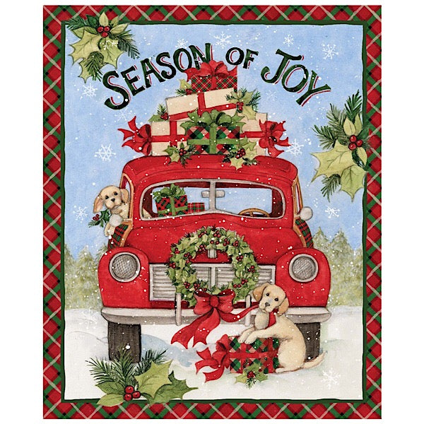 Season of Joy Red Truck Christmas Panel to Sew