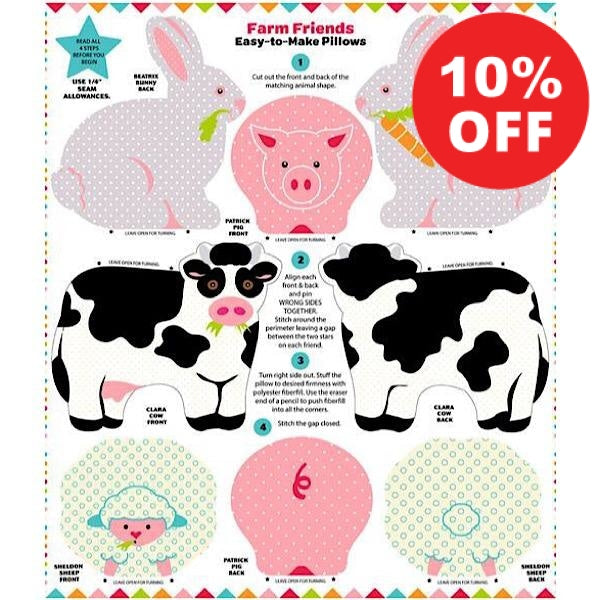 Farm Friends Snuggle Pillow Panel to sew - QuiltGirls®