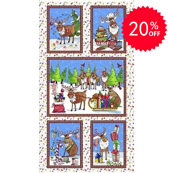 Reindeer Antics Panel to sew - QuiltGirls®