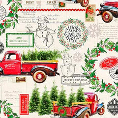 "(Remnant 18"") Christmas Deck the Halls Fabric to Sew - QuiltGirls®"