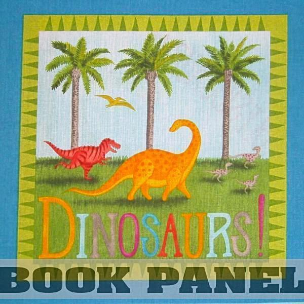 Dino Party Fabric Book Panel to Sew