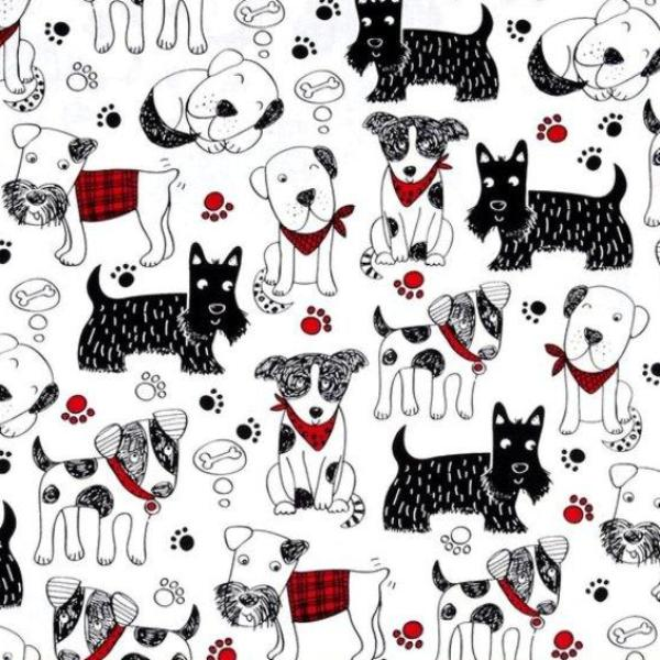 Dogs and Paw Prints on White Fabric to sew