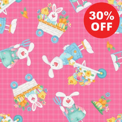 Down on the Bunny Farm Pink Toss Fabric to sew - QuiltGirls®