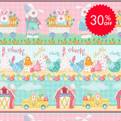Down on the Bunny Farm Stripe Fabric to sew - QuiltGirls®