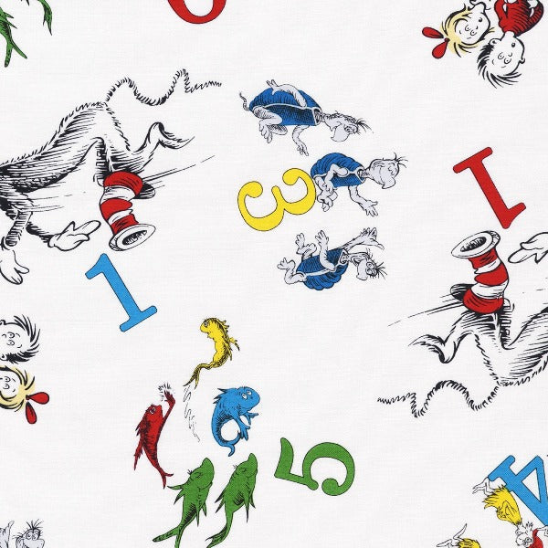 Dr. Seuss 123 Characters on White Fabric to sew - QuiltGirls®