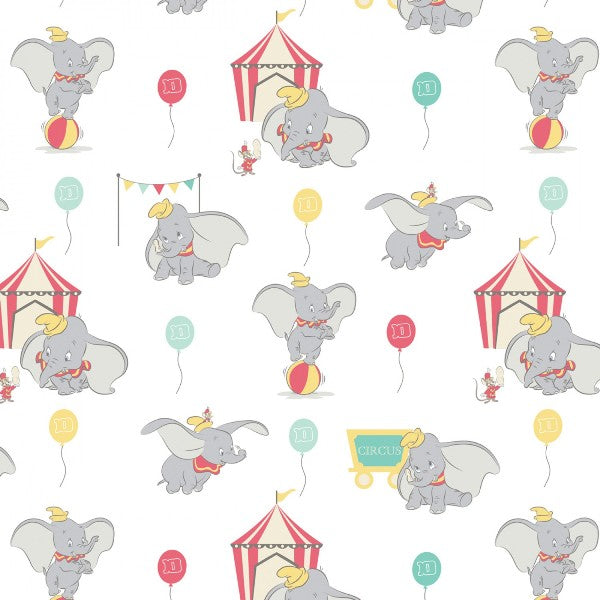 Dumbo in the Circus White Fabric to sew - QuiltGirls®