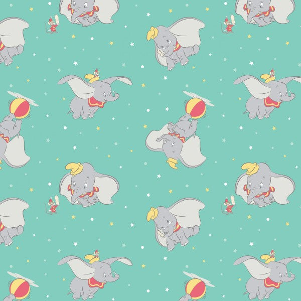 Dumbo Toss Turquoise Fabric to sew - QuiltGirls®