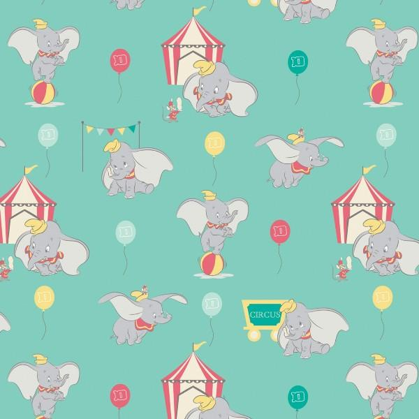 Dumbo in the Circus Turquoise Fabric to sew