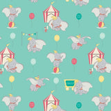 Dumbo in the Circus Turquoise Fabric to sew - QuiltGirls®