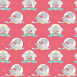 Dumbo the Flying Elephant on Coral Fabric to sew - QuiltGirls®