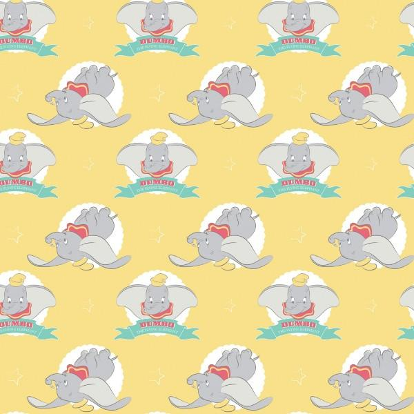 Dumbo the Flying Elephant on Yellow Fabric to sew - QuiltGirls®