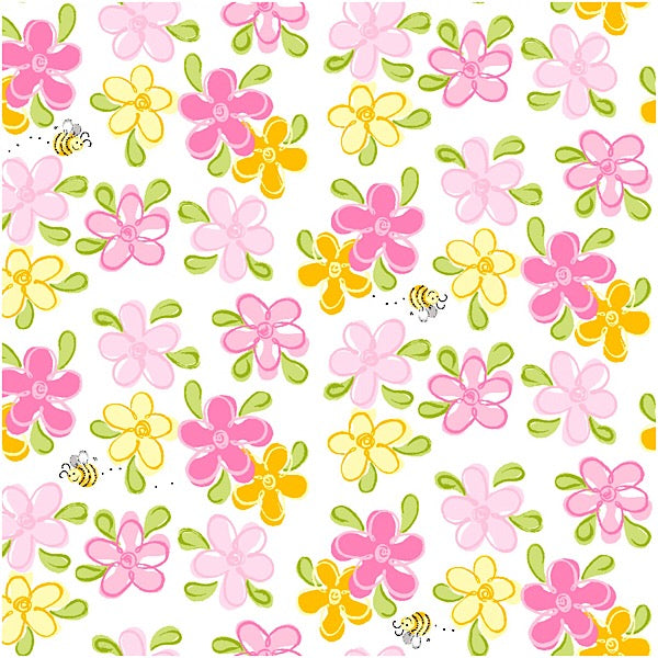 Susybee's Flowers and Bees on White Fabric to sew