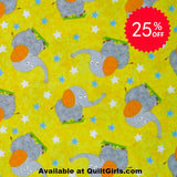 Safari Elephant Toss on Yellow Fabric to sew - QuiltGirls®